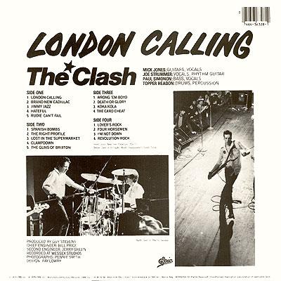 Zadní část původního obalu alba London Calling. V seznamu skladeb chybí Train In Vain.