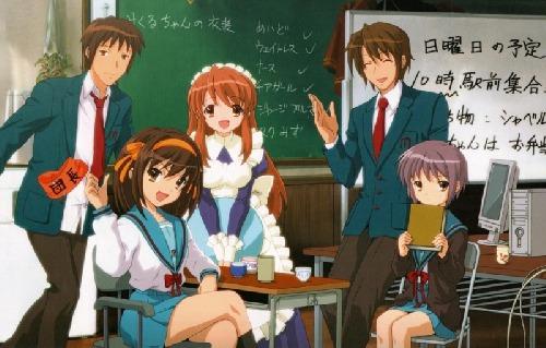 Haruhi,kyon,Koizumi,Mikuru a yuki